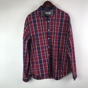 Express long sleeve plaid maroon button down shirt